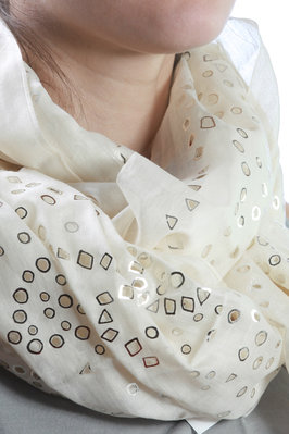 laser cut and silver print scarf - HAAT