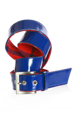 patent leather bright blue belt  - 74