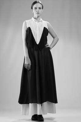 Long dress in white cotton poplin sewn on another dress in black silk voile  - 73