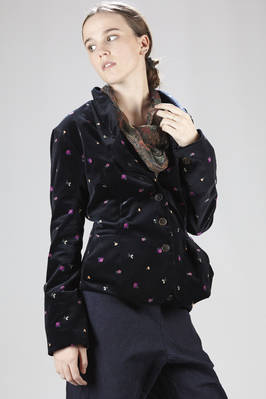 Short and fitted-at-the-waist jacket in cotton smooth velvet with floral print - VIVIENNE WESTWOOD - Gold