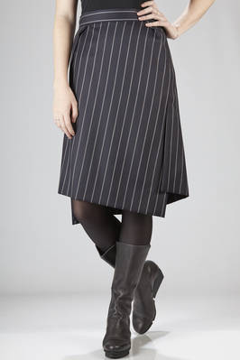 Calf-length asymmetric skirt in combed wool with large pinstripe  - 266