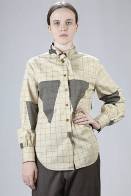 Long shirt in cotton and polyester Viyella with checks and big triangles  - 266