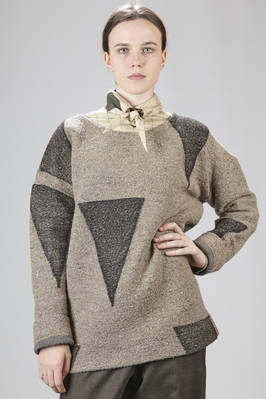 Long and heavy sweater in malfilè wool, cotton, polyamide and acrylic  - 266