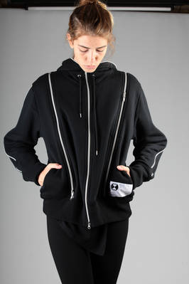 unisex blouson in cotton jersey on the outside and colour contrast metallic zip, polyester lining  - 122