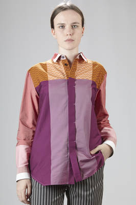 Man shirt in cotton poplin and printed polyester with geometrical pattern  - 47