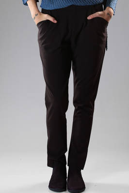 Tight-fitting trousers in stretch wool canvas and polyurethane  - 47