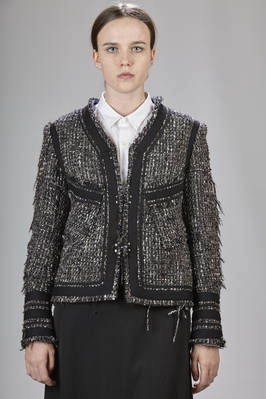 'Chanel'-like short jacket in carded polyester wool, acrylic and polyester  - 97