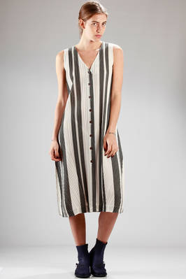 cotton and polyester vertical pleating calf-length dress with 'Berber' stripe  - 111