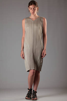 polyester vertical pleating dress doubled with inlays  - 111