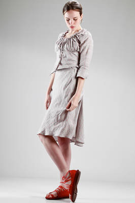 two pieces dress in linen cotton canvas with diagonal checks pattern - VIVIENNE WESTWOOD - Red