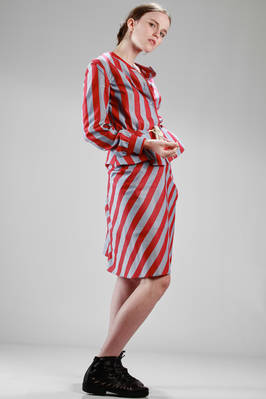 shirtlike jacket in cotton etamine with large stripes - VIVIENNE WESTWOOD - Red