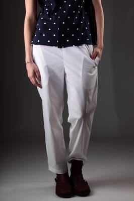 slim fit trousers in light polyester and cotton canvas  - 157