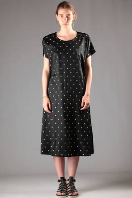 long dress in cotton sateen with small stars printing and half-closed polyurethane bands  - 157