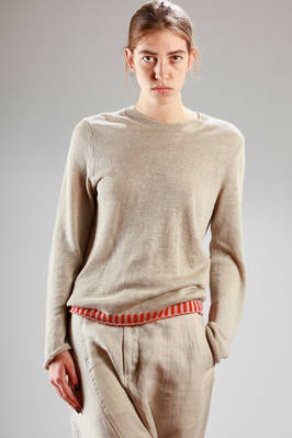 stocking stitch sweater in linen, acrylic and wool with colour contrast 'sticks' embroidered at the hem  - 157