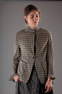 cotton gauze blazer with slashed and shades squares  - 161