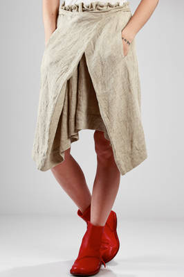 short skirt in washed and creased linen canvas and ramie  - 161