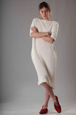 calf-length dress with knitted linen bodice and embossed linen gauze bottom  - 195