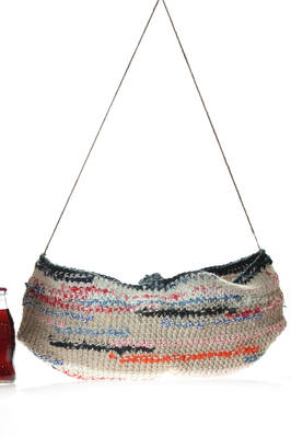 crocheted bucket bag  in heavy multicolour cotton and linen  - 195