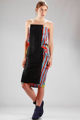 silk knee-length dress with 'cartoon' printing and plain panel  - 267