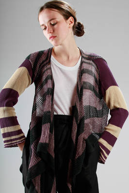 short cardigan/bolero in knitted cotton and an overlapping net knitted panel with stripes  - 267