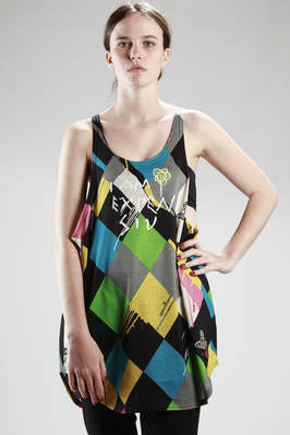 oversize vest in cotton jersey with badly dyed 'Harlequin' printing  - 267