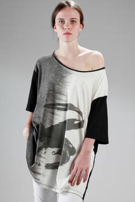 long and wide t-shirt in cotton jersey printed on the front and plain on the back  - 275