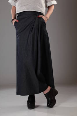 divided skirt in cotton canvas with a denim effect  - 276