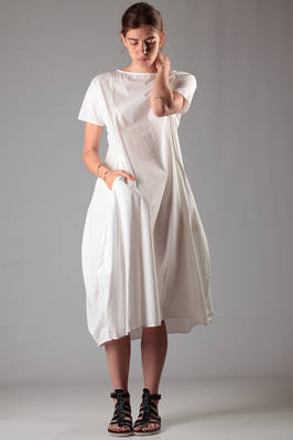 calf-length dress in cotton and silk poplin  - 277