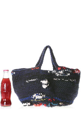 wool crochet shopper bag with silk and cotton woven applications  - 195