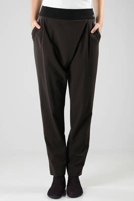 crêpe stretch trousers with contrasting colour belt  - 47