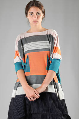 knitted cotton, acrylic, polyester and linen sweater with multicolour geometries  - 111