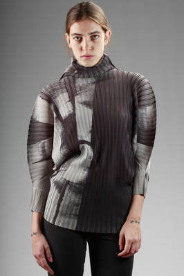 sweater in vertical pleated polyester with faded roller paint printing  - 111