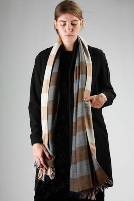 three layers wide scarf in stocking stitch wool with a multicolour stripes pattern  - 111