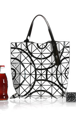 classic Bao Bao squared shopper bag made of polish PVC and polyurethane TOKOLO plates with a Rubix cube effect on polyester net  - 237