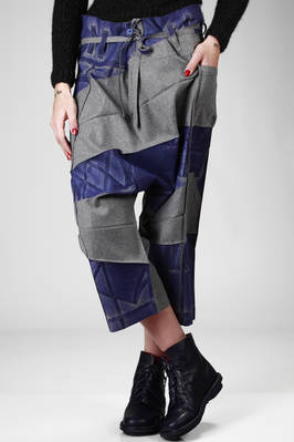 sarouel trousers in pressed polyester with a fustian effect and printed origami pleating  - 203