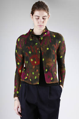 jacket in honeycomb pleated polyester with colour dirty hands and polka dots printing  - 203