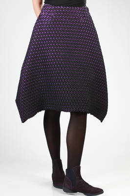 skirt in steam stretch pleated bicolour polyester and polyurethane with a narrow crystal effect  - 47
