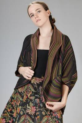 wide jacket in narrow wave steam-stretch pleated polyester with a multicolour optical effect - ISSEY MIYAKE