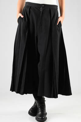 long divided skirt in cotton canvas with vertical stitched pleats  - 97