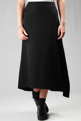 long and asymmetric skirt in wool gabardine  - 73