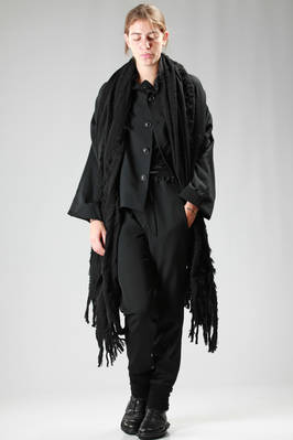 wide stole in knitted wool and nylon with fringes  - 73
