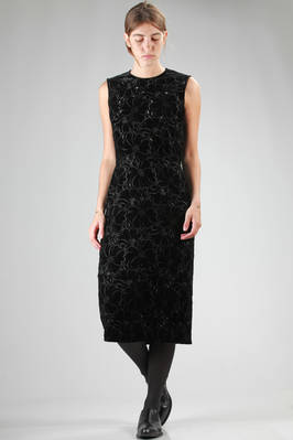 calf-length dress in rayon and polyester velvet hand-cut lace with embroidered flowers  - 48