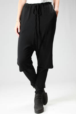 wool jersey trousers with waistband and knee-length doubled leg  - 161