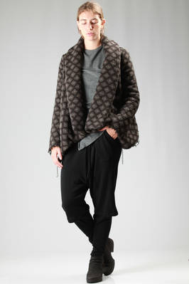 wide pea coat in damask wool cloth with checks  - 161