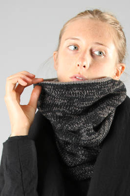 high neck warmer in soft doubled knitted bicolour wool and cashmere  - 161