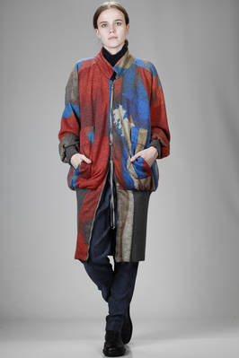 lurex cotton plush slightly padded over size blouson with high knitted band at the hem Union Jack printing  - 274