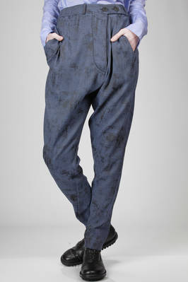 polyester and elastane canvas trouser with a worn-out velvet effect printing  - 274