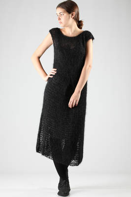 calf-length dress in large stitched mohair  - 230