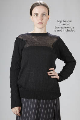 mohair sweater with ribbed pyramid origami in wool and polyester along the sleeves and the shoulders  - 74