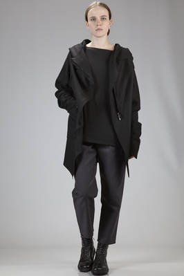 cape-style asymmetric coat in light wool cloth and viscose and wool cloth sleeves with peeling effect  - 275